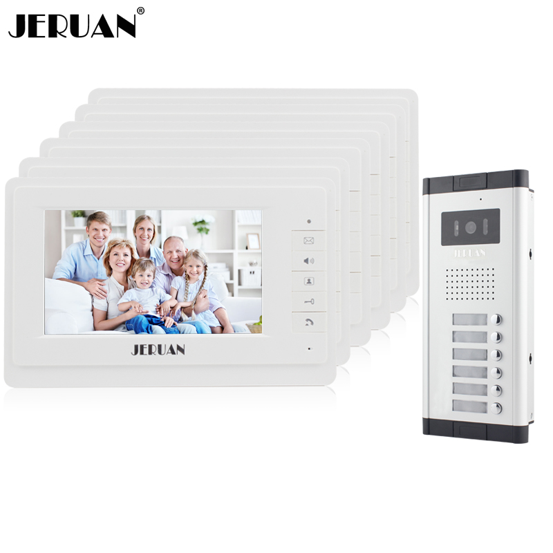 JERUAN 7 inch Video door phone Intercom System Apartment Doorbell intercom 6 Monitors 700TVL IR Night Vision Camera In stock jeruan 7 video door phone record intercom system 3 monitors 700tvl rfid access ir night vision camera electric drop bolt lock