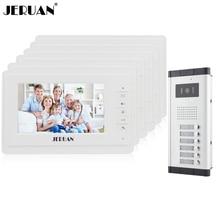 JERUAN 7 inch Video door phone Intercom System Apartment Doorbell intercom 6 Monitors 700TVL IR Night Vision Camera In stock