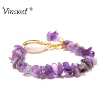 2019 Women Bracelet Amethysts Turquoises Irregular Stone Bracelet Natural Shell Bracelet for Women Handmade Jewelry Adjustable(China)