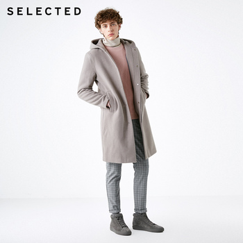 SELECTED Men's Winter Wool-blend Cashmere Medium-style Woolen Coat S|418427566