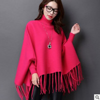 2016 Plus Size Batwing Poncho Women Knitted Overwear Coat Mink Cashmere Sweaters Striped Knitted Cardigans Sweater