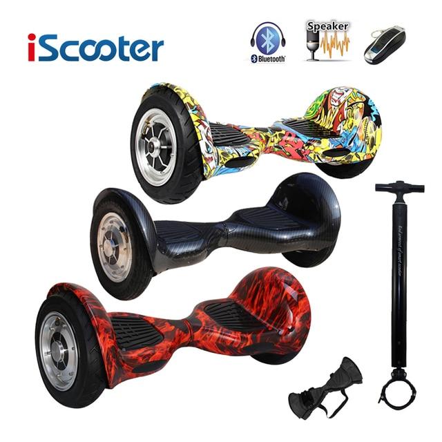 Iscooter hoverboard 10 дюймов Bluetooth 2 колеса самобалансированый электрический скутер два умных колеса с удаленным ключом и LED скейтбордом