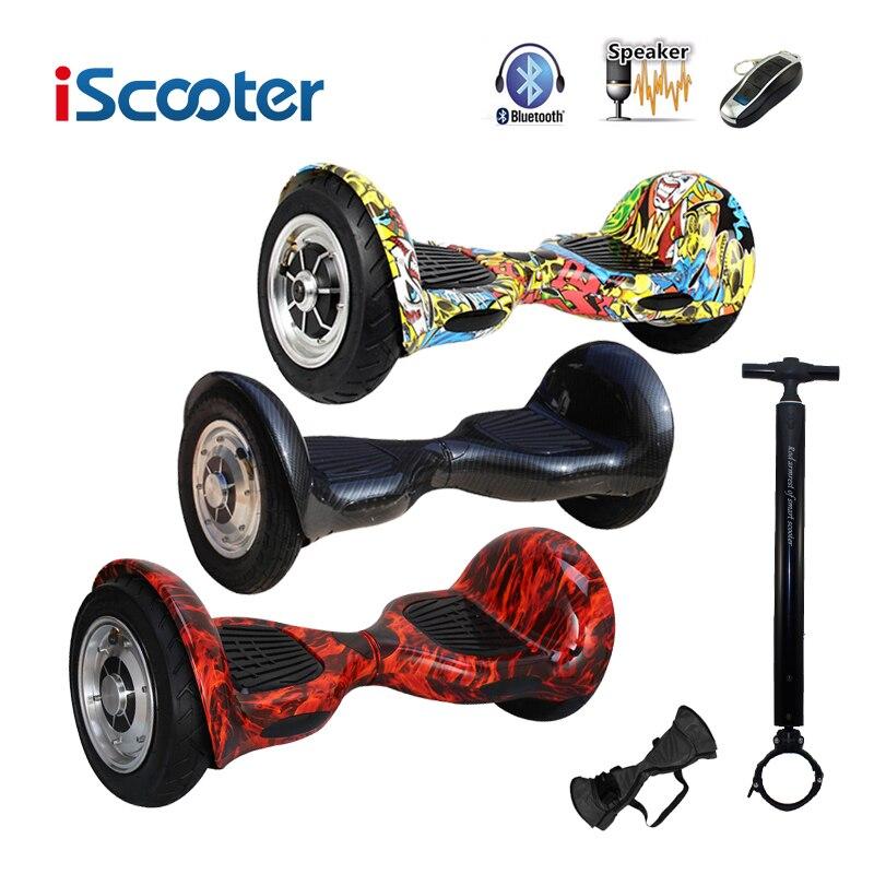 Iscooter hoverboard 10 polegada bluetooth 2 roda auto balanceamento scooter elétrico dois roda inteligente com chave remota e skate led