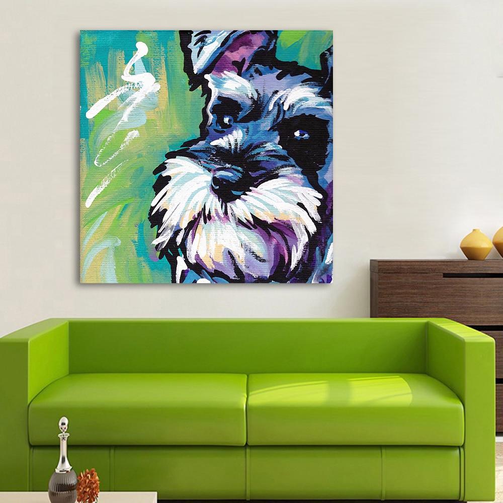 HDARTISAN Moderne Tier Abstrakt Leinwand Kunst Schnauzer Hund Pop Wandbilder Fr Wohnzimmer Home Decor Printings Malerei