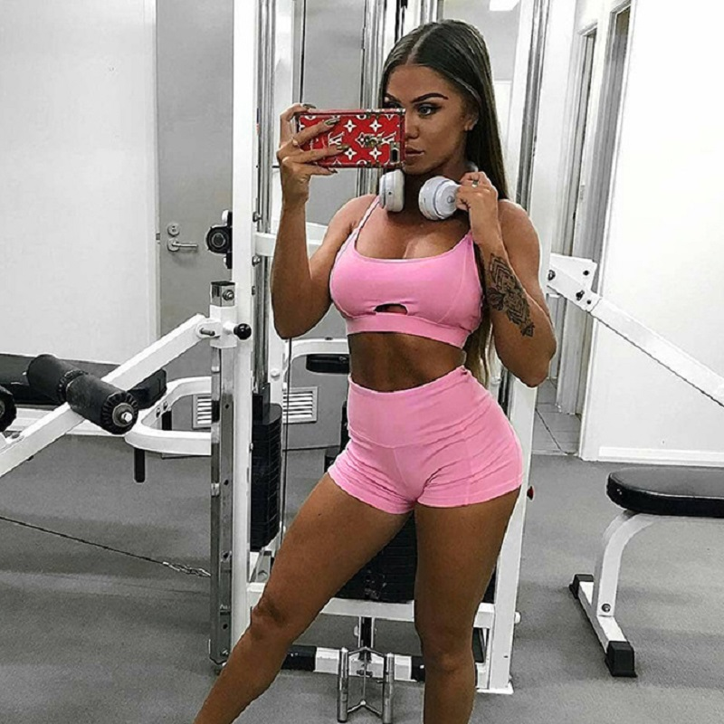 Pink <font><b>Yoga</b></font> Sets Women Gym Clothes Hollow Out <font><b>Sexy</b></font> <font><b>2018</b></font> Gym Elastic Running Suit <font><b>Fitness</b></font> Clothing Workout <font><b>Sport</b></font> Wear Bra+Pant image