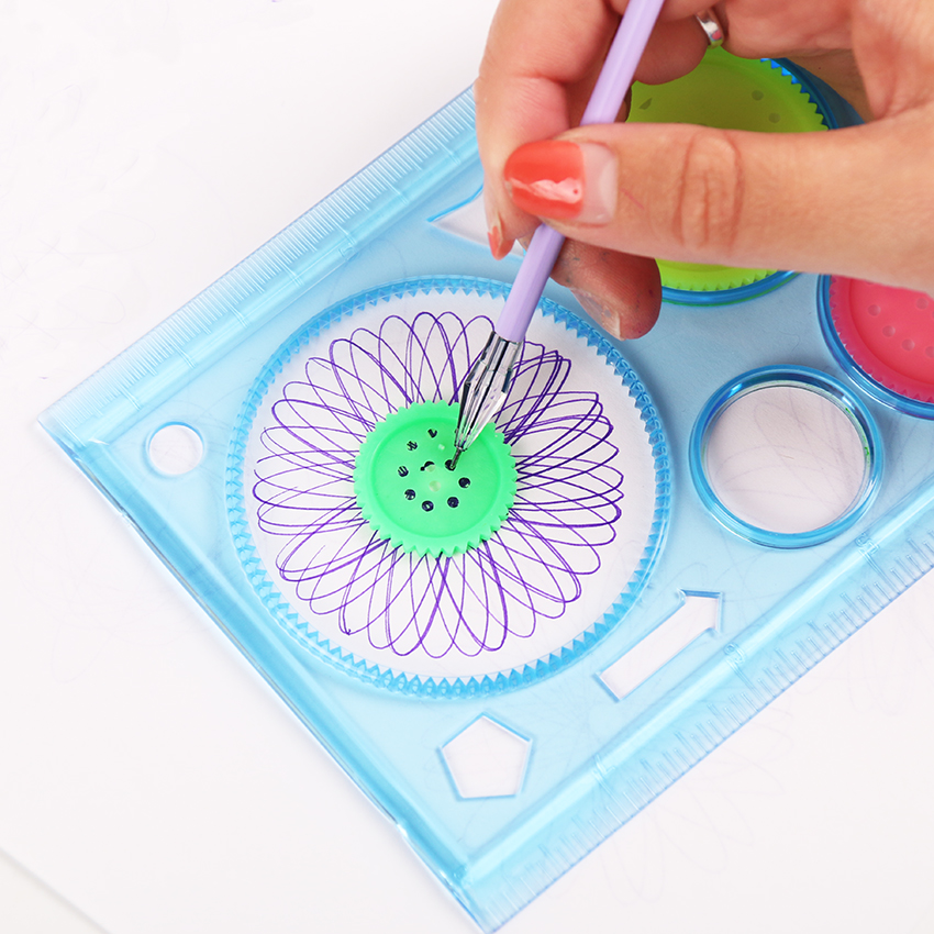 Office & School Supplies 2 Pcs Multifunctional Children Variety Spirograph Drawing Plastic Ruler Color Random In Pain School & Educational Supplies