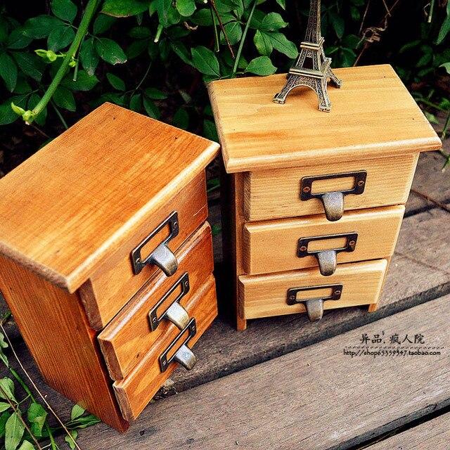 Zakka three drawers wood vintage retro finishing storage wooden box desktop drawer jewelry storage box