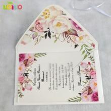 Горячее предложение последние индивидуальные цветочные свадебные пригласительные открытки дизайн акриловая открытка свадебные пригласительные открытки с конвертом