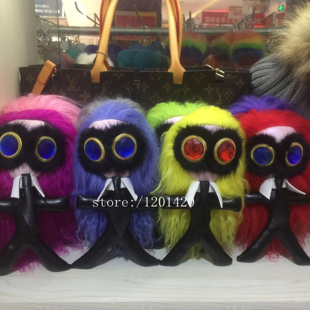 Karl monster bag charms bag bug Long hair karl golf bag pendant Gems eye handbag charm fur Key chains lambskin key holders