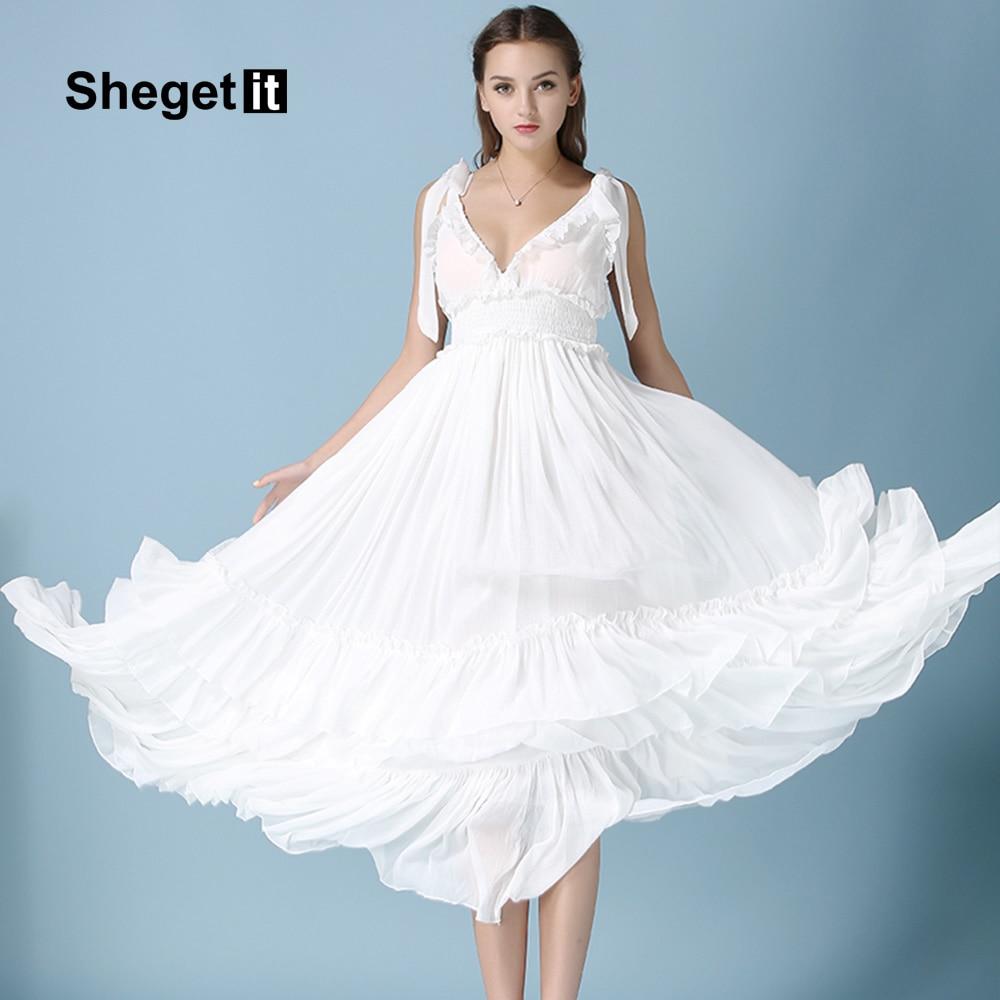 Aliexpress.com : Buy Shegetit New Women Chiffon Backless Maxi Dress ...