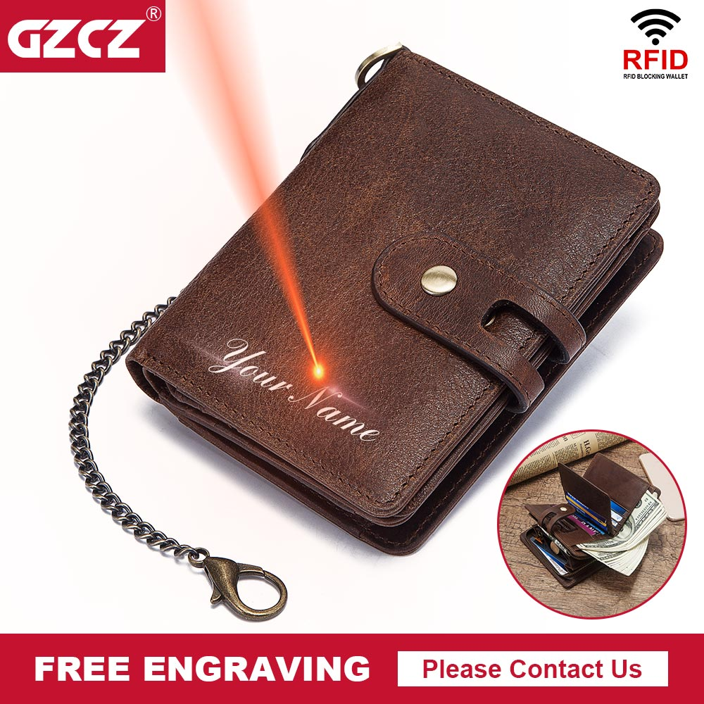GZCZ Chain Wallet Free-Engrave RFID Coin-Purse Money-Bag Crazy-Horse Quality Designer