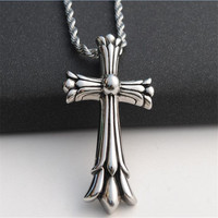 Luxury Mens Antique Silver Cross Pendant Necklaces Male Charms Stainless Steel Choker Necklaces Pendants For Men