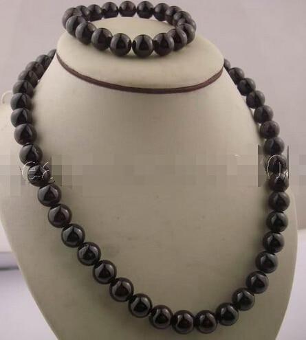 free shipping>>> shippingWOW!!! charming 10mm GARNET necklace&bracelet jewelry (A0425)