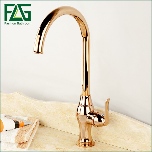Fashion Luxury Rose Gold Tall Kitchen Faucet, Single Hole Hot And Cold Kitchen  Faucets Bronze