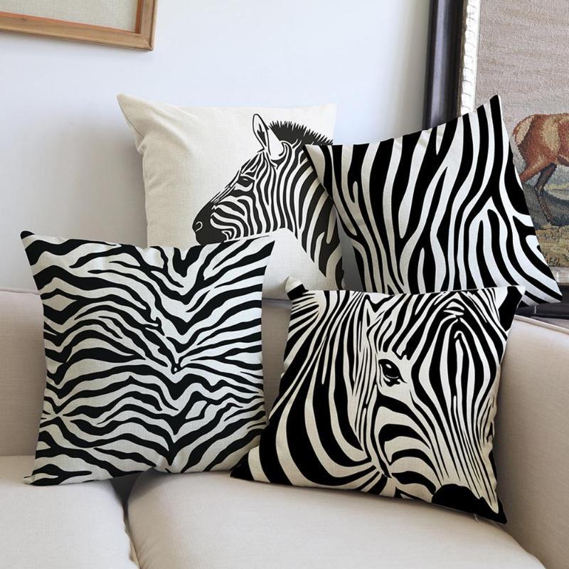 Tropical Plant Pillow Cover Cushion Case Green Leaf Home Decorective Zebra Stripe Printed Cotton Linen Cushion Cover 45x45cm