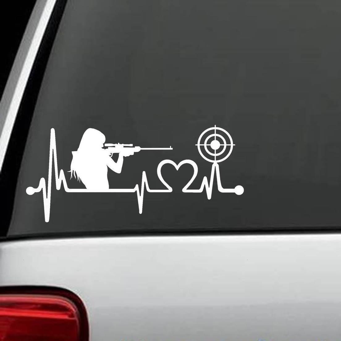 Gun Girl Heartbeat Target Shooting Decal Sticker Love Guns Window Sticker 15cm In Stickers From