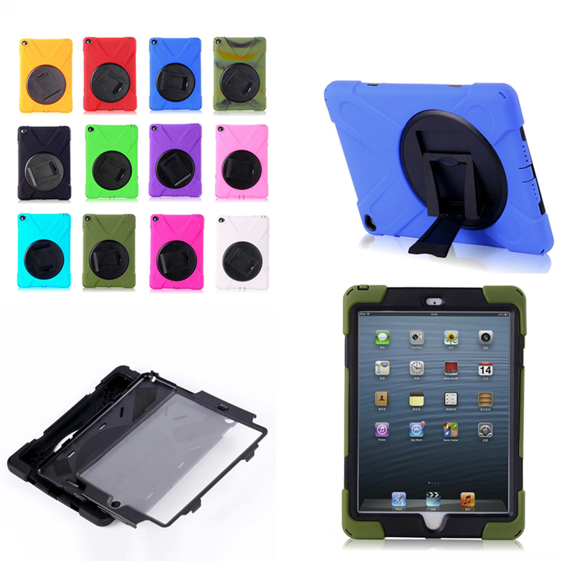 WES-HDW New Hybrid Armor Heavy Duty 3 in 1 Silicone Rubber PC Shockproof Kids Safe Case Cover For iPad air2 ipad 6 Air 2