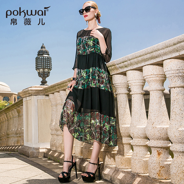 POKWAI Casual Summer Silk Maxi Dress High Quality Women Fashion 2017 New  Three Quarter Sleeve O-Neck Sexy Lace Pleated Dresses