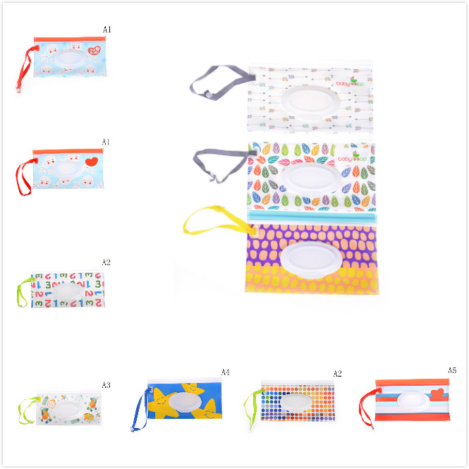 Nappy Changing Helpful Easy-carry Snap-strap Wipes Clutch And Clean Wipes Carrying Case Eco-friendlycontainer Wet Wipes Bag Clamshell Cosmetic Pouch Pretty And Colorful