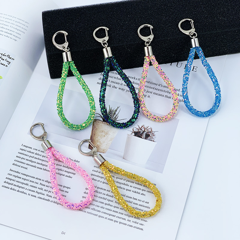 Creative Sequin Leather Rope Key Chain Using Soft Plastic Material Fashion Lady Bag Flash Onion Powder Sequin Pendant