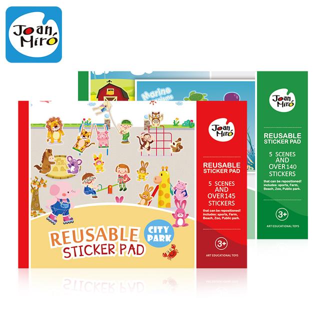 Más de 145 Unids reutilizable pad pegatinas, cada uno con 5 escenas para Niños juguetes clásicos Infantiles, pegatina bebé juguetes educatonal, envío gratis