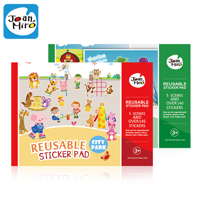 over 145 PCs reusable stickers pad, each with 5 scenes for Kids Child  classic toys
