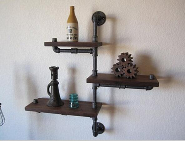 Madera tamaño 30 * 15 cm del hierro Retro americana Racks de tubos de madera sólida estantería estantería estantes de tubos industriales estantes Racks-Z22