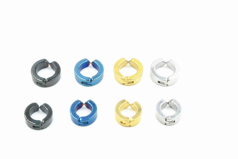 b641ed890 ... Lot 50pcs Hoop Circle Earrings Men/Women Ear Studs/Earring Stainless  Steel No Hole ...