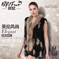 Knitted real rabbit fur vest women slim genuine fur vests waistcoats with tassel and natural raccoon fog fur collar
