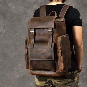 Image 4 - レトロ本革男性のバックパック大容量のラップトップバッグ学校のバックパック男性ショルダーバッグ茶色の革旅行バックパック