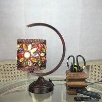 Crystal Bohemia лампа ретро настольные лампы юго Средиземноморский теплая спальня лампа пастырской Континентальный Железный бронза Настольные л