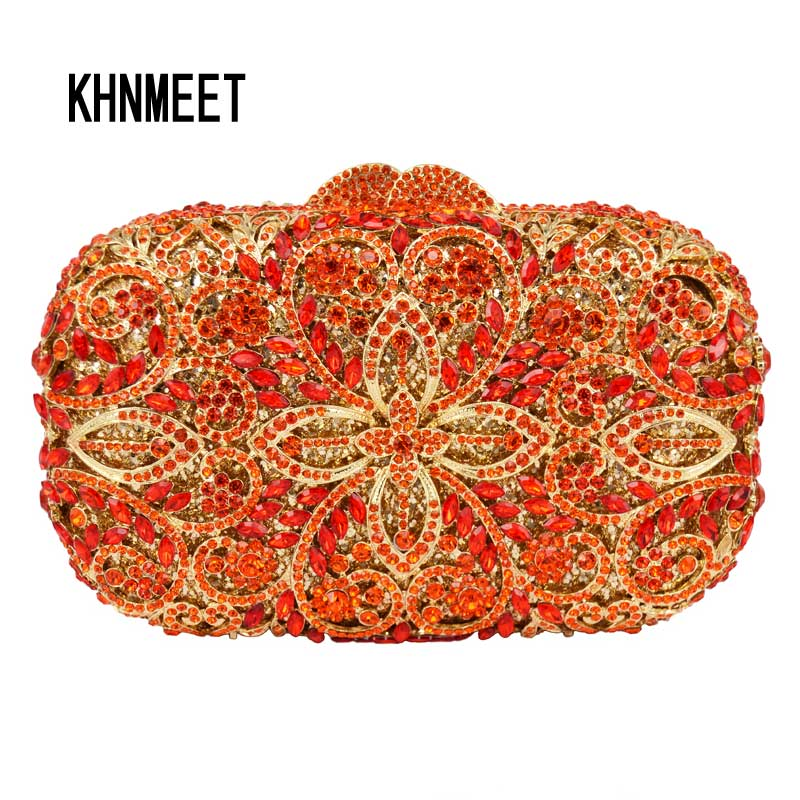Newest Business Party Evening Bag with Chain Orange Crystal Evening Bag Ladies Diamante Clutch Bag Wedding Pochette SC454 frank buytendijk dealing with dilemmas where business analytics fall short