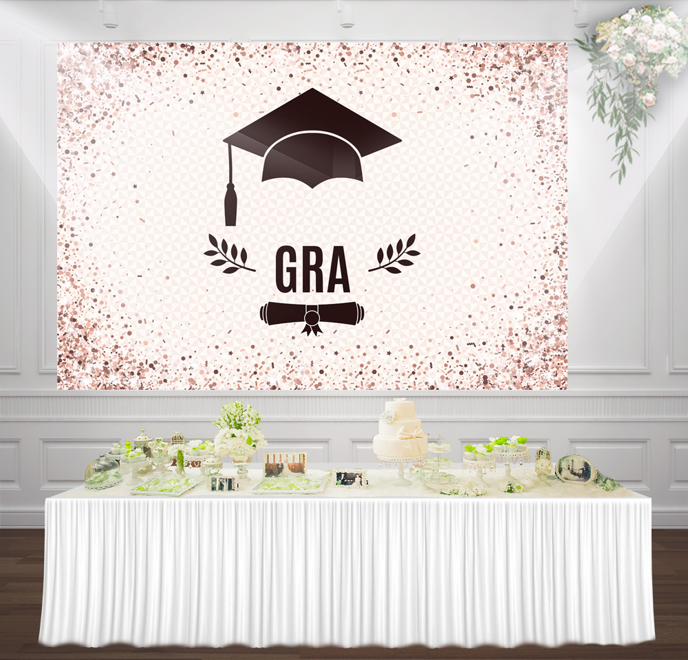100% Quality Huayi Graduation Cap Pink And Brown Dots Graduation Party Decorations Photography Backdrop Background Gy-1052
