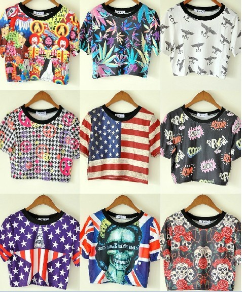11 Type Print Harajuku Style American UK Flag Skull Boy ...