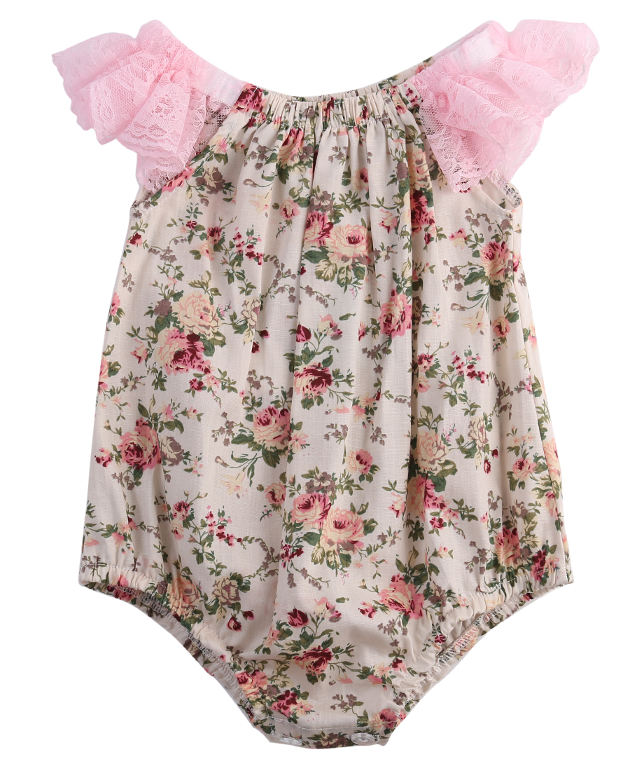 Emmababy 0-24M Newborn Baby Girls Clothes Baby Girls Bodysuits Flower Cotton Lace Sleeveless Jumpsuits For Cute Baby Girls New