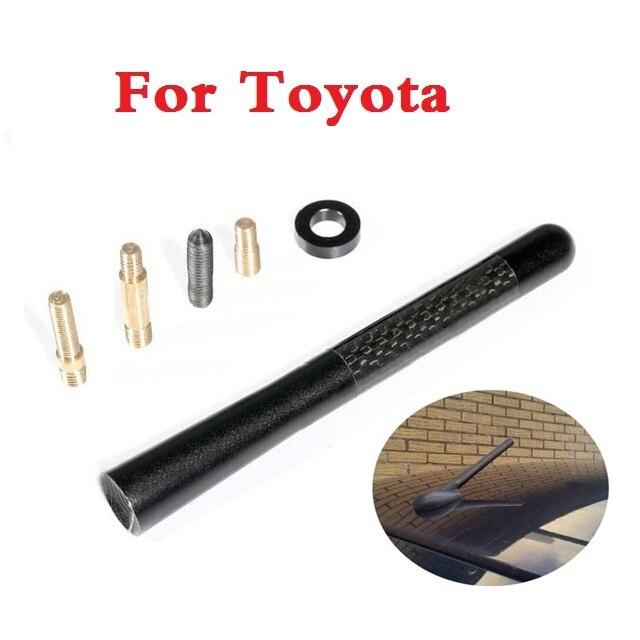 Antena corta de fibra de carbono para coche con tornillo de aluminio de 12CM para Toyota Corolla Rumion Corolla Runx FJ Cruiser Fortuner GT86 Herrer