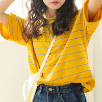 High Quality Women T Shirts Short Sleeve Striped Pattern O Neck Casual T Shirt Female Tees