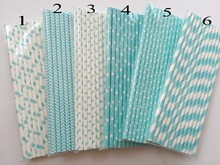 25pcs Light Blue Pink Paper Straws for Baby Shower Wedding Party Kids Birthday Party Decoration Supplies