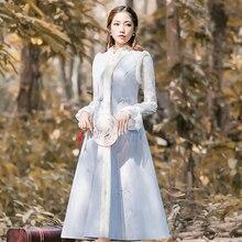 2018 new fashion women's outerwear coat autumn retro woolen coat fur collar embroidered coat