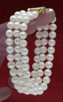 FREE shipping>>>>2015 fashion AAA beautiful 3 row 7-8mm white fresh water round pearls bracelets