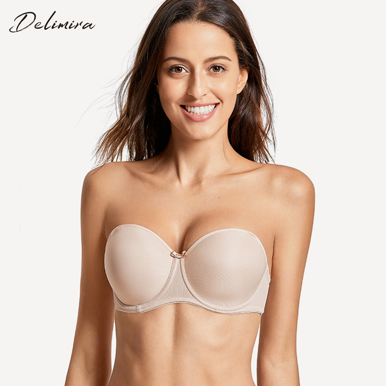 4a14af9a377 Detail Feedback Questions about DELIMIRA Women s Seamless Full Figure  Underwire Slightly Padded Multiway Strapless Bra on Aliexpress.com
