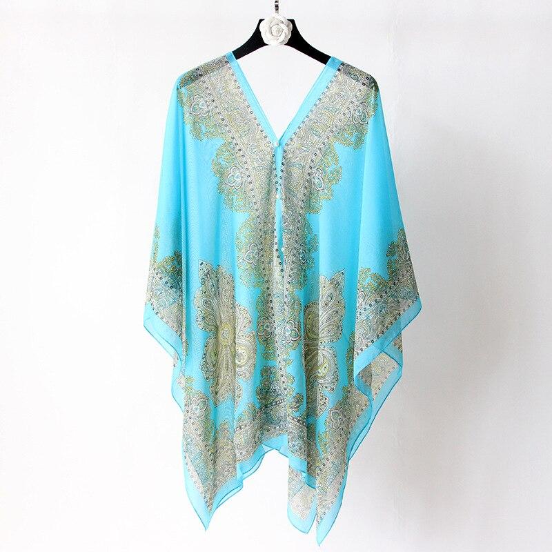 VISNXGI Fashion Floral Chiffon Blouses Women Spring Summer Style Beachwear Cover Up Elegant Flower Print Chiffon Loose Shirt 23