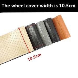 Image 2 - רכב הגה כיסוי 38cm 40CM יד תפור DIY עור אמיתי 100% עור פרה צמת עם מחטי חוט 38CM אביזרי רכב
