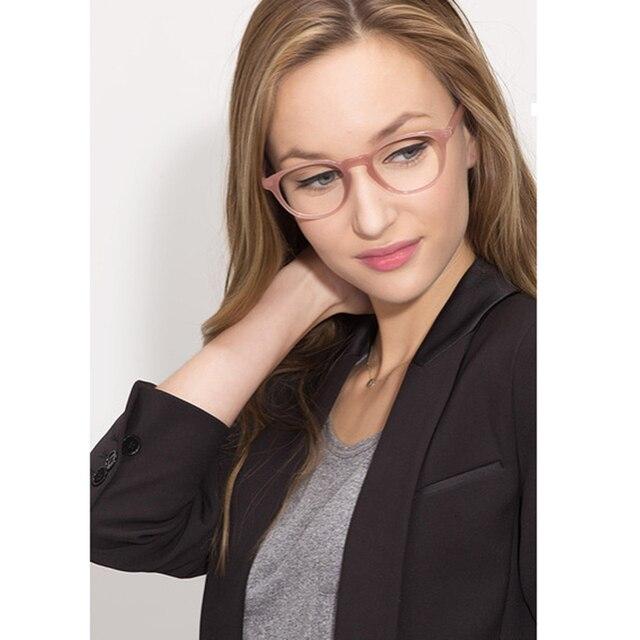 568dfd18f Rosa Semi-transparente Oval Em Forma de Acetato de armações de óculos de  olho para