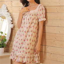 2018 Brand Sleep Lounge Women Sleepwear Cotton Floral Print Nightgowns Sexy Home Dress White Nightdress Plus Size #P6