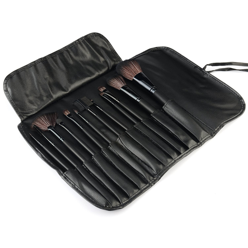 12pcs black Professional cosmetic brush kit makeup brushes set case make up brush kits makeup beauty Face care tool for you hot sale 2016 soft beauty woolen 24 pcs cosmetic kit makeup brush set tools make up make up brush with case drop shipping 31