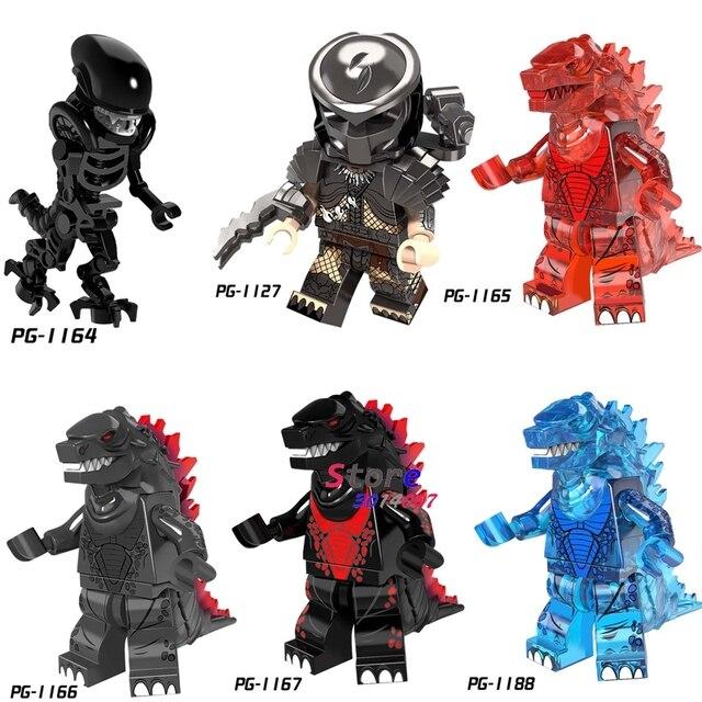 Único Super Hero Series Filme Alien vs Predador Gigante Godzilla Monstro figura modelo de blocos de construção tijolos brinquedos para crianças