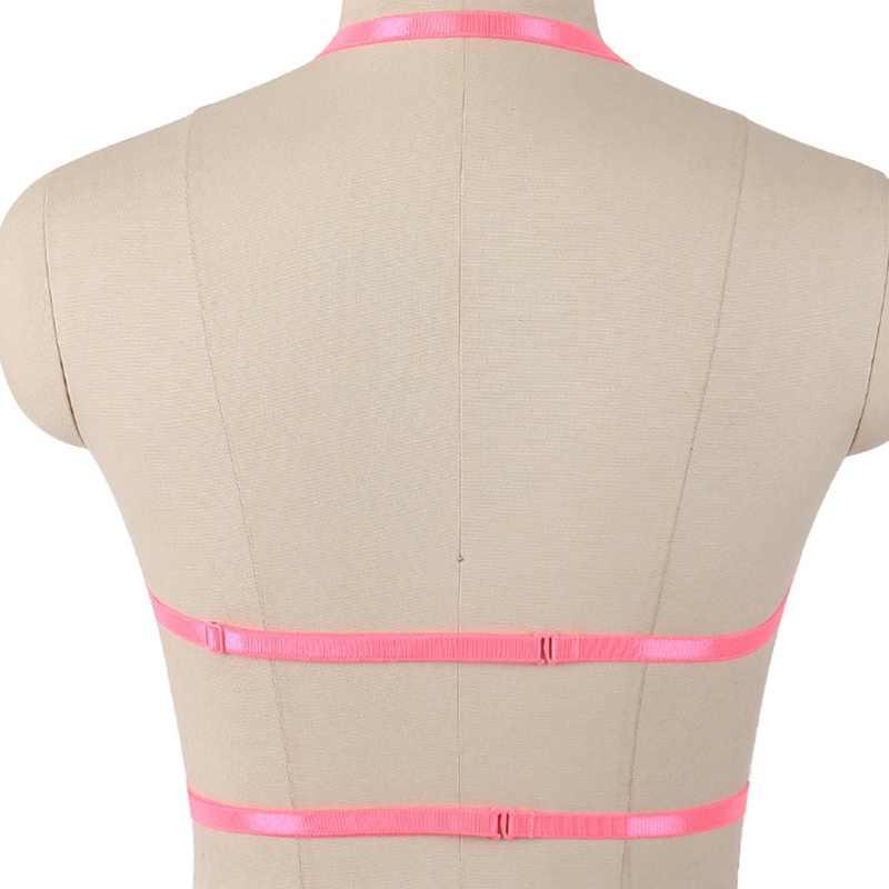 Szelki bielizna dla kobiet seksowne topy pas na klatkę piersiową Gothic Dance podwiązka bielizna różowa elastyczna regulacja pasek plus rozmiar