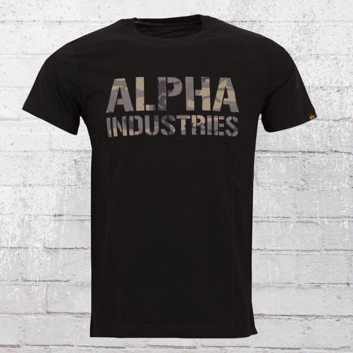 Alpha Industries Camo Druck Weise T Hemd Schwarz Drucken T-Shirt Harajuku Kurzarm Männer Top 100% Baumwolle