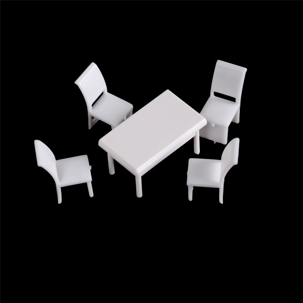 5Pcs/set (1xTable +4xChair) Wooden Dining Chair Table Furniture Miniature Set For Dollhouse Kitchen Food Furniture Toys